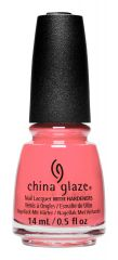 A nail polish bottle of China Glaze nail lacquer in Sunset Crew, a pink coral crème