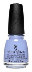 Bottle of China Glaze nail lacquer called Surfside Skies, a light periwinkle crème nail polish shade